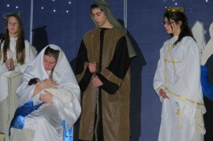 Students from St. Joseph-St. Robert School during their Live Nativity presentation at Saint Robert Bellarmine Parish in Warrington (Bucks County).
