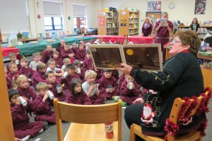 "Kindergarten students at St. Joseph-St. Robert School (Bucks County) enjoy hot cocoa and listen closely to the reading of ""Polar Express."""