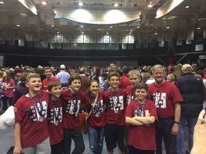 Photo of the team and their coach at the State Competition in Pittsburgh. Pictured from left to right: Ryan Russ, Victor Mominey, John-Patrick Duffy, Cecilia Jacobs, Konnor Gike, Aiden Fisher, Christopher Cossa, and (coach) John Duffy